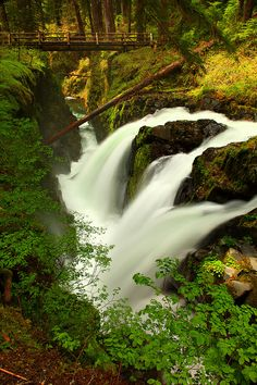 Sol Duc Falls and Hiker Bridge in Olympic National Park Washington