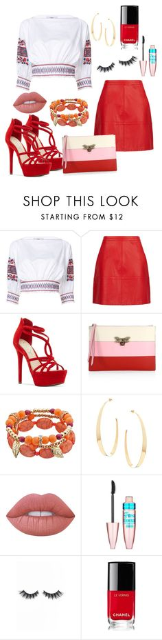 """Sem título #48"" by gabigiandu ❤ liked on Polyvore featuring TIBI, Jessica Simpson, Gucci, Lana, Lime Crime, Maybelline, Violet Voss and Chanel"