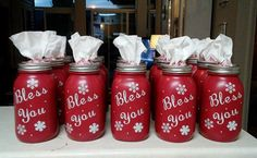 """These cute Bless You jars were made by Vikki Westmoreland! What a clever gift idea for Christmas/winter time! Here's her tutorial… """" I start with Kerr jars, because they have a smooth back. Then two layers of matte acrylic paint (Folk Art) Then I cut the vinyl with my Cricut and apply it to the jar. …"""