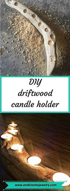 Step by step instructions on how to make a driftwood or even weathered wood candle holder. Read it i Driftwood Jewelry, Driftwood Projects, Driftwood Art, Driftwood Ideas, Driftwood Wedding, Driftwood Mobile, Driftwood Candle Holders, Diy Candle Holders, Diy Candles