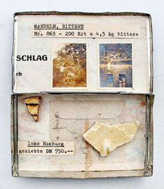 mano kellner, project 2016, kunstschachtel / art box nr 34/2016, bittere mandeln (not avaiable) Box Art, Art Boxes, Collage, Object Lessons, Assemblage, Match Boxes, Artists, Dioramas, Paper