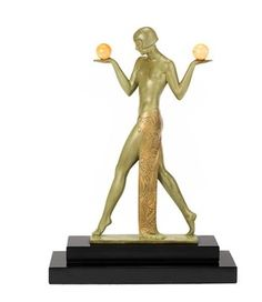 pierre-le-faguays-an-art-deco-style-art-metal-and-onyx-model-of-an-egyptian-style-female Art Deco Furniture, Art Deco Fashion, Egyptian, Bookends, Female, Model, Home Decor, Style, Swag
