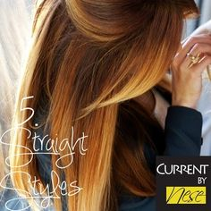 5. Straight Ombre Styles are classic and sophisticated. Pair a pin straight style with work attire, or a casual outfit for a gorgeous, yet understated look. Instead of using a flat iron, use a big round brush and hair dryer to get straight locks with just enough movement.