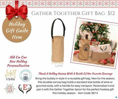 Gather Together Gift Bag Perfect to gift that wine in you give every year. Also use to put homemade jars in. Think ahead to other events coming up. Personalize for the new bride and groom & give them something they an display year round. Join me on Facebook @ Jami's Bags and Gifts  #giftbag #winebag