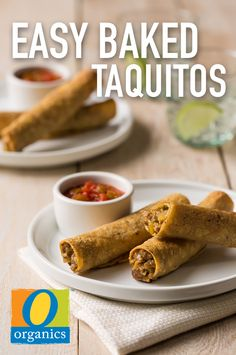 These Easy Baked Taquitos can be made in just a half hour and are perfect for lunch, a quick protein-packed snack or appetizers at your next fiesta!