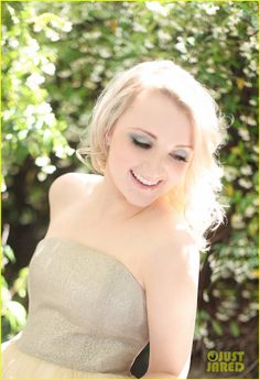 Evanna Lynch looks light, fresh, and pretty all over in this exclusive new fashion photo shoot for JustJared.com