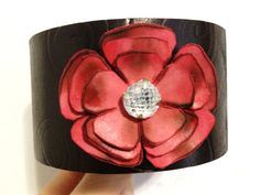 Black Leather Cuff with Pink Flower Pink by ChristyKeysCreations, $28.00