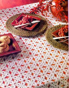tejidos artesanales en crochet: mantel trebol de 4 hojas