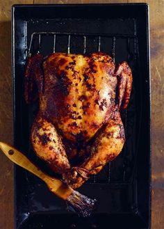 This chicken packs its heat from a mixture made with cayenne, olive oil and garlic, plus a generous seasoning of salt and pepper.