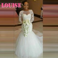 Find More Wedding Dresses Information about  Fitted Lace Wedding Dress Mermaid/Trumpet Long Sleeve with Lace Applique Beading Plus Size robe de mariage 2016,High Quality sleeve wrap dress,China dresses with sleeves Suppliers, Cheap dress punk from SuZhou Louise Trading Co.,LTD on Aliexpress.com