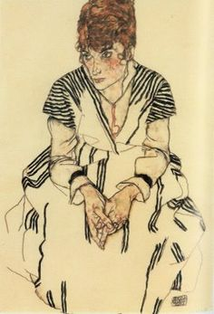 egon schiele - The Artist's Sister's Sister-in-Law in White Dress -repinned from http://LinusGallery.com #art #artists