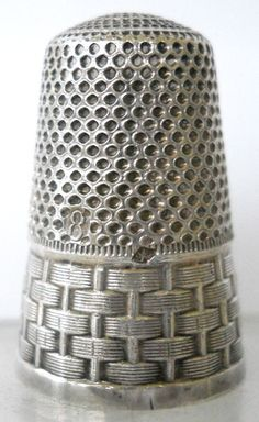 Tall French .950 Silver Thimble w/Basket-weave Band & Gold Lining
