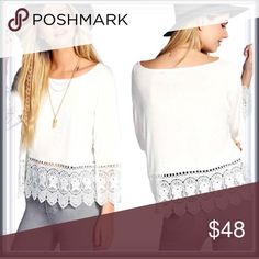 🆕 Boho Chic White Fringe Top ➖SIZE: Medium   ➖STYLE: A simple but embellished with some lace at the hems white top perfect for spring and summer weather.  ❌NO TRADE * XS available in black - Medium and Large available in wine   Ruffle bell sleeves eyelet.    Entropycat Tops Blouses
