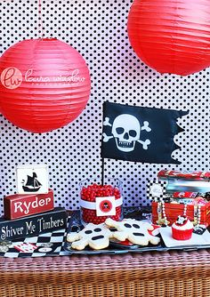 pirate party...I like the wooden blocks(name and shiver me timbers) also could make rice crispy treat skull or crossbones or just bones