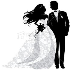 Bride And Groom Silhouette Clip Art Royalty Free Stock Vector
