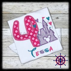 Girl's Disney Castle Birthday Shirt, Disney Castle and Balloons Birthday Shirt, Disney Princess Birthday Shirt, Disney Castle Applique Shirt by FDLEmbroidery on Etsy