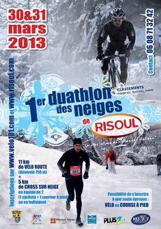 RISOUL - 30 et 31 mars - Duathlon des neiges - 11 km de vélo route (dénivelé 750m) + 5 km  de cross sur neige en équipe de 2 (1 vélo + 1 cross) ou en individuel sur les 2 épreuves