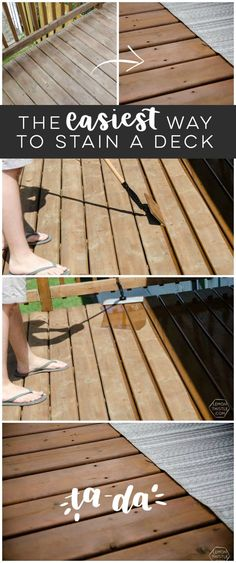 The Easiest Way to Stain a Deck 2019 Learn the EASIEST way to stain a deck this patio season! Tips on wooden deck materials finishing and refinishing! The post The Easiest Way to Stain a Deck 2019 appeared first on Deck ideas. Cool Deck, Diy Deck, Laying Decking, Trex Decking, Decking Material, Do It Yourself Furniture, My Pool, Deck Plans, Pergola Plans