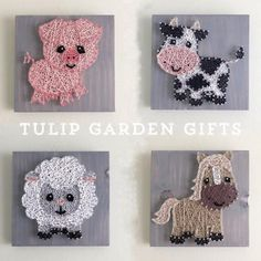 Informations About Farm Animal String Art, Baby Farm Animals, Farm Nursery Decor, Farm Decor, Baby P Farm Animal Nursery, Baby Farm Animals, Farm Nursery, Baby Sheep, Baby Cows, Baby Horses, Nursery Decor, Girl Nursery Themes, Baby Pig