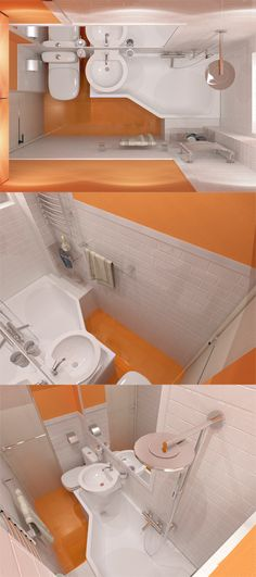 Very Small Bathroom   2 Sq. I Like How The Sink Can Drain Into The Tub And  How You Have Leg Room Under The Sink. Very Efficient Use Of Space