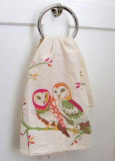 Owl Vignette Flour Sack Towel by BetsyOlmsted on Etsy, $18.00