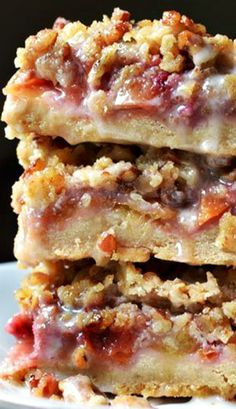 Peach & Pecan Oat Crumble Bars Recipe ~ They're sweet, buttery, chewy
