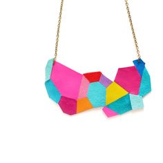 Neon Bib Necklace Geometric Polygon patchwork Leather Jewelry by BooandBooFactory