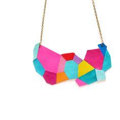 Neon Bib Necklace Geometric Polygon patchwork Leather Jewelry by BooandBooFactory