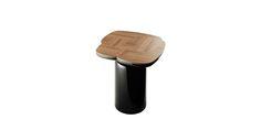 设计师:Francois Champsaur 名称: TOGETHER 在一起边几 尺寸:450*450*500mm     描述:桌面胡桃木拼花开孔漆, 桌面背部和底座烤漆。