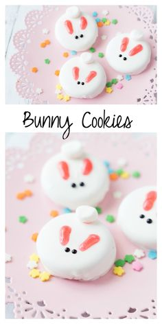 Bunny Cookies: a perfect treat for Easter or a spring time party! Bunny Cookies: a perfect treat for Easter or a spring time party! Easter Snacks, Easter Candy, Hoppy Easter, Easter Treats, Easter Recipes, Easter Food, Easter Ham, Easter Chick, Egg Recipes