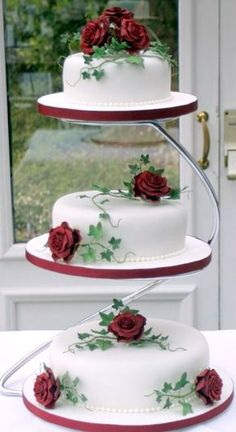 & 3 tier cake For tiered cheesecake Wedding Cake Red, 3 Tier Wedding Cakes, Wedding Cake Stands, Elegant Wedding Cakes, Beautiful Wedding Cakes, Wedding Cake Designs, Wedding Cake Toppers, Beautiful Cakes, Amazing Cakes
