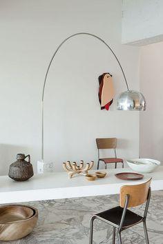 Arco floor lamp - Achille and Pier Giacomo Castiglioni - Flos - Bea Mombaers' B&B Decor, Modern Furniture, Interior Decorating, Interior, Industrial Floor Lamps, Arco Floor Lamp, Home Decor, House Interior, Modern Interior