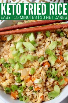 Make keto fried rice with konjac rice noodles or cauliflower rice in just 15 minutes! Keep the flavor you know and love in this classic Chinese dish with 75% less carbs. This recipe is easy to make, vegetarian, gluten free and contains just 10 net carbs per serving! New Recipes, Dinner Recipes, Gluten Free Dinner, Rice Noodles, Cauliflower Rice, Food Plating, Fried Rice, Cobb Salad, Main Dishes