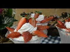 Laci bácsi menü - Alföldi sertésszelet galuskával, poharas grízmell puding Puding, Strawberry, Menu, Favorite Recipes, Fruit, Youtube, Desserts, Food, Menu Board Design