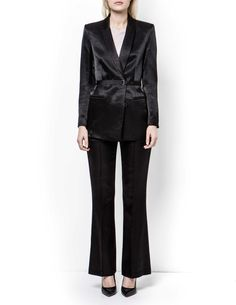 Caiss blazer - Women's black blazer in soft viscose-blend. Features concealed button closure at front with tie grosgrain belt with metal endings. Fully lined. Below-hip length. Trousers Women, Women's Trousers, Pants, Blazers For Women, Women's Blazers, Tiger Of Sweden, Grosgrain, Normcore, Legs