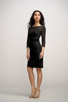 Watters bridesmaids dress. black lace 3/4 sleeve