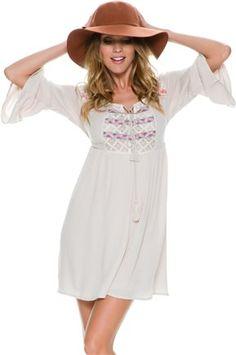 Boho embroidered peasant dress.  http://www.swell.com/Womens-Dresses/SWELL-SEA-BREEZE-EMBROIDERED-PEASANT-DRESS?cs=IV