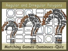 BUNDLE - Polygons Matching Games and Dominoes + a Quiz