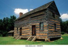 Log cabin, birthplace of Pres. James K. Polk, in Polk Memorial State Historic Site, Pineville, near Charlotte, NC. - Stock Image