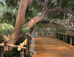 Houston Zoo Gorillas of the African Forest by the Portico Group. I love the overhanging trees and the walkway.