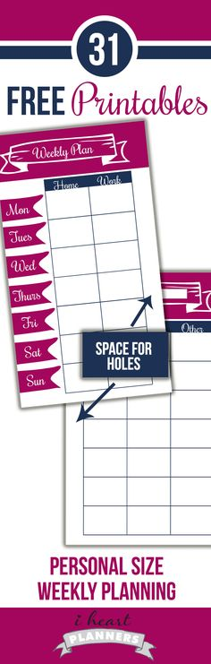 Editable weekly layout printable for a personal size Filofax or other planner - FREE!