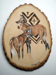 Brazilian Maned Wolf Painting and Wood Burning by andrearodgers, $45.00