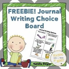 FREEBIE! Are you looking for a way to support students during their journal writing? Try this choice board!   This freebie contains a choice board that you can use with students when they are writing in their journals.