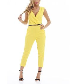 Look at this #zulilyfind! Yellow Belted Surplice Jumpsuit by AX Paris #zulilyfinds