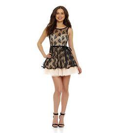 B. Darlin Sleeveless Lace Mesh Party Dress Available at Dillards.com #Dillards