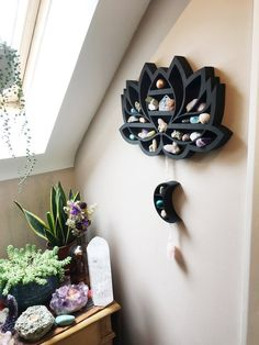 We make crystal shelves in all different shapes and sizes incorporating spiritual symbols and sacred geometry to allow you to create a magical sacred space in your home! Meditation Raumdekor, Meditation Room Decor, Zen Room Decor, Sala Zen, Raw Rose Quartz, Creation Deco, Crystal Shelves, Crystal Decor, Crystal Bedroom Decor