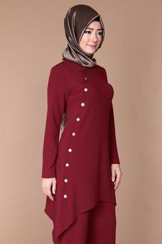Side Button Trouser Combination – Best Of Likes Share Islamic Fashion, Muslim Fashion, Cute Girl Dresses, Casual Dresses, Abaya Fashion, Fashion Dresses, Modele Hijab, Eid Outfits, Kurta Neck Design