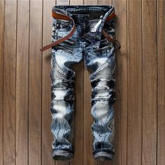 33.02$  Watch more here - http://ait8h.worlditems.win/all/product.php?id=32793111251 - Mosaic male jeans slim straight water wash vintage splash-ink long trousers men's clothing multi-pocket