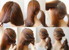 Tutoriais para cabelos lisos longos