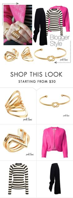 """""""Add A Little Pink"""" by parklanejewelry on Polyvore featuring Jean-Louis Scherrer, fallfashion, parklanejewelry and goldcollection"""